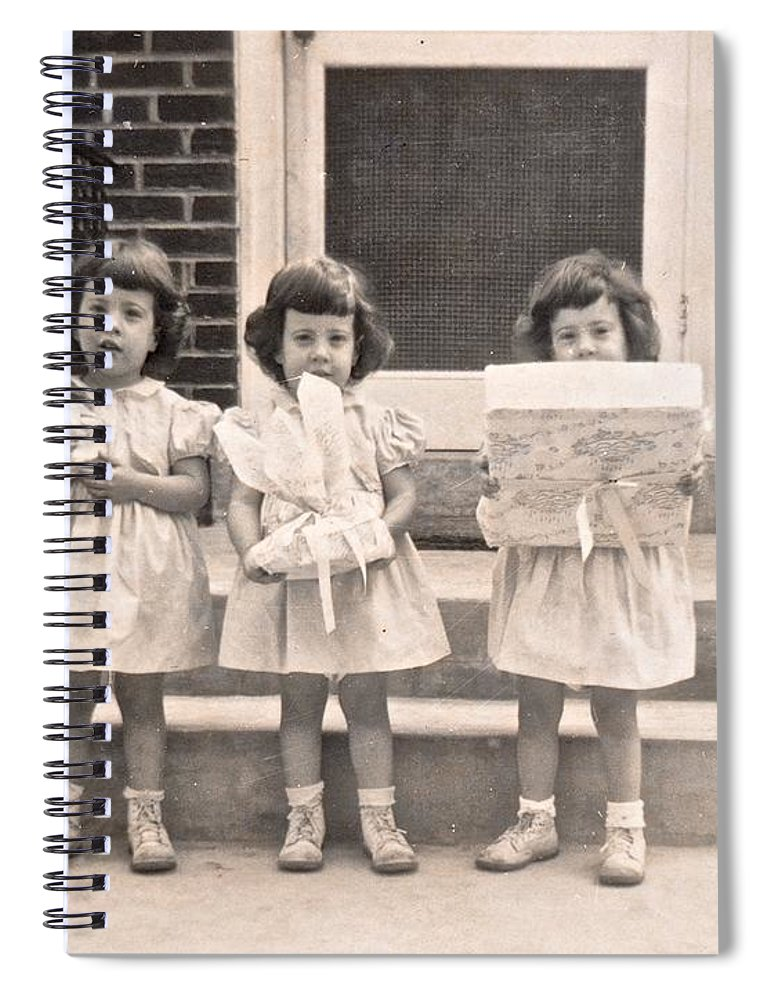 Triplet Children Spiral Notebook featuring the photograph Happy Birthday Retro Photograph by Kristina Deane