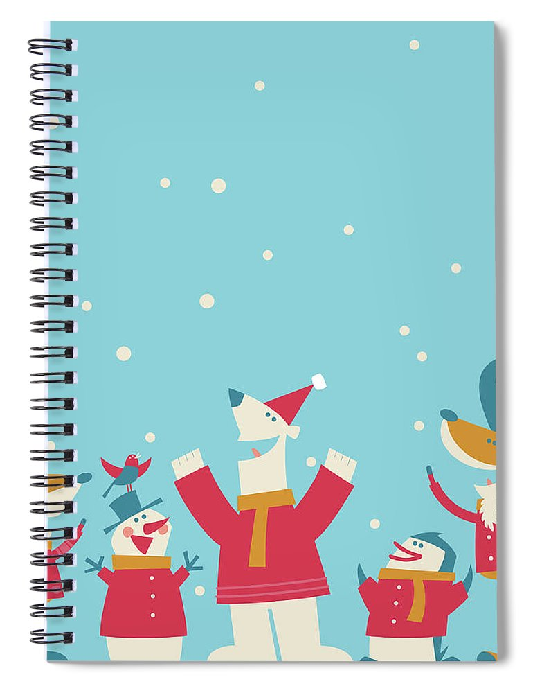 Elf Spiral Notebook featuring the digital art Happy Christmas by Akindo