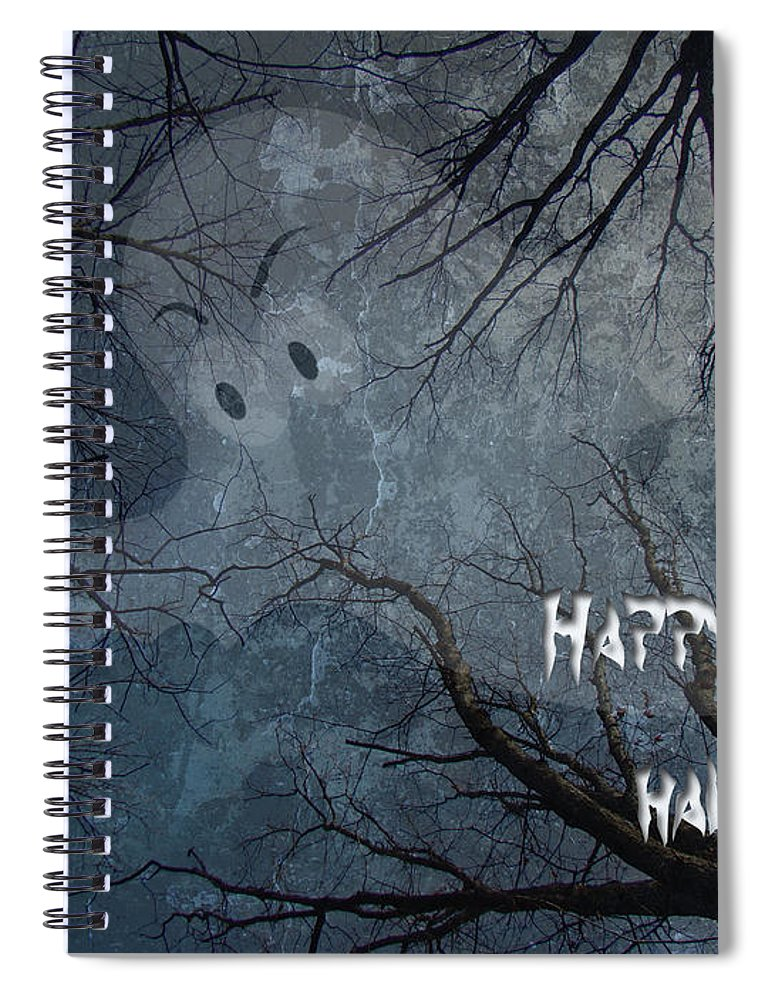 Halloween Spiral Notebook featuring the photograph Happy Halloween - Ghost In Trees by Mother Nature