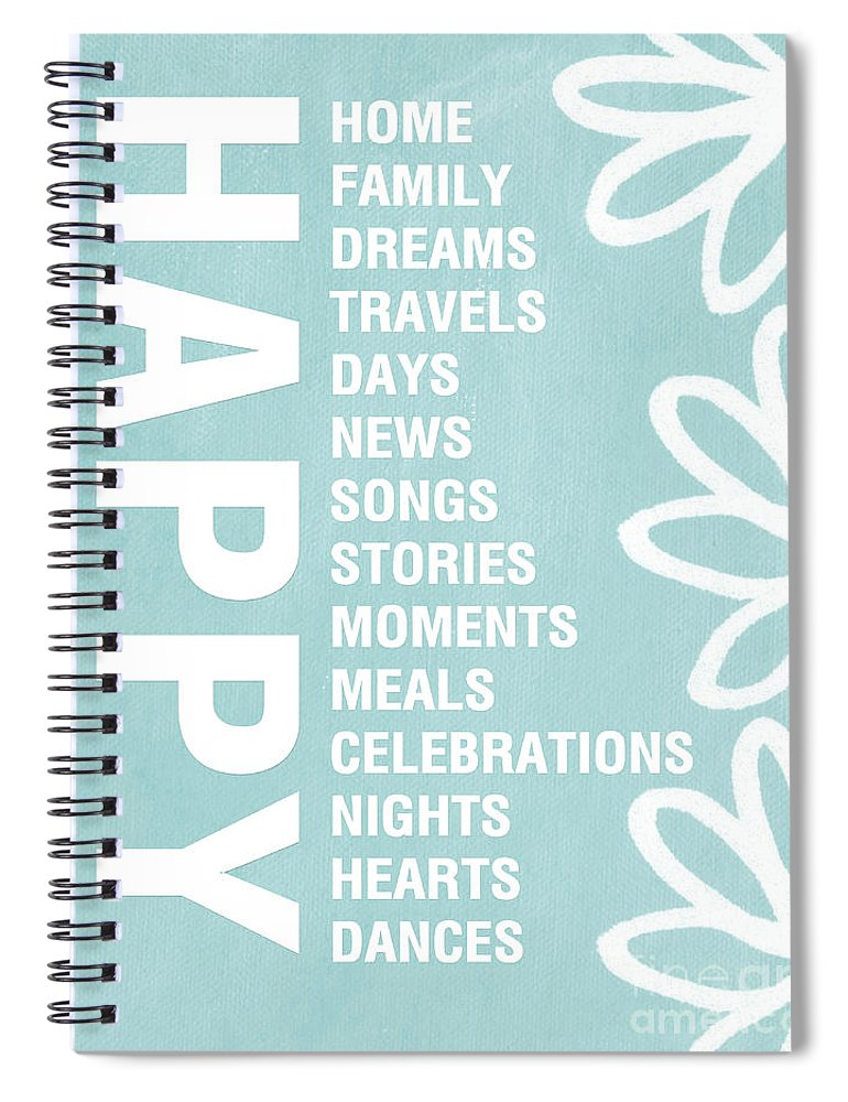 Typography Spiral Notebook featuring the painting Happy Things Blue by Linda Woods