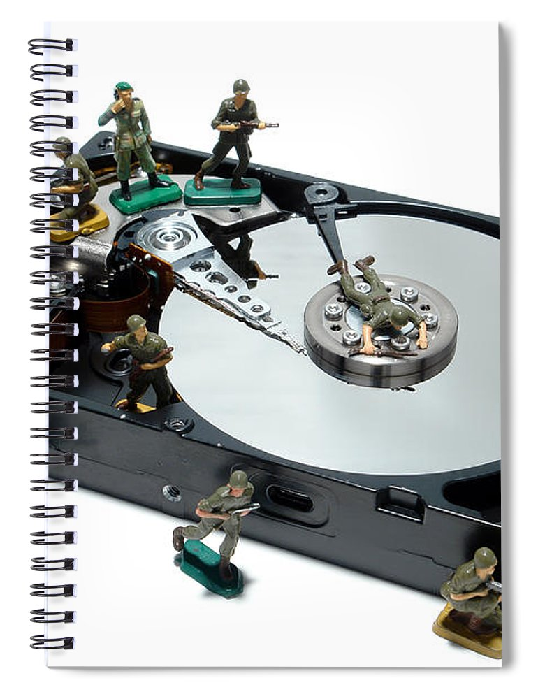 Computer Spiral Notebook featuring the photograph Hard Drive Defense by Olivier Le Queinec