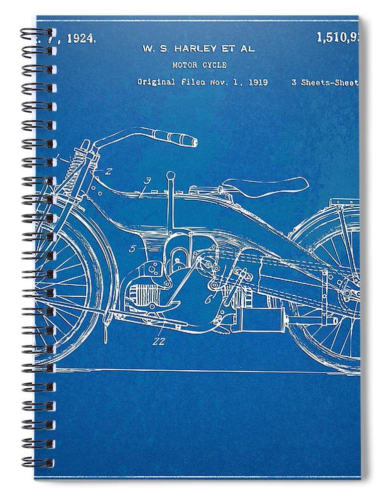 Harley-davidson Spiral Notebook featuring the digital art Harley-davidson Motorcycle 1924 Patent Artwork by Nikki Marie Smith