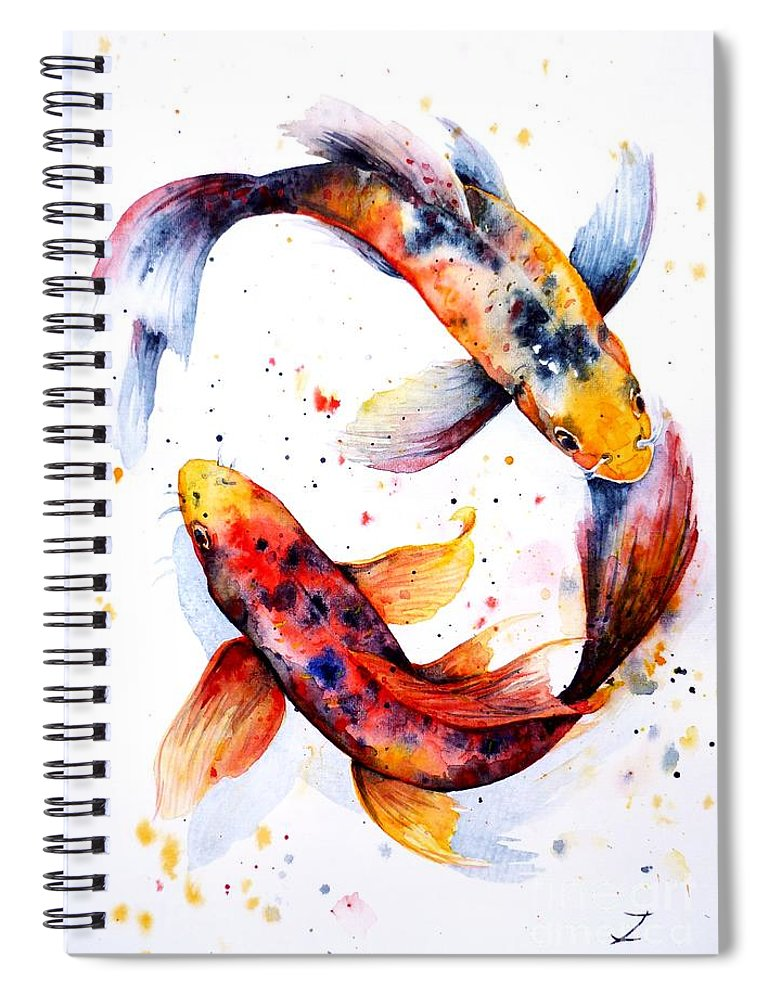 Koi Spiral Notebook featuring the painting Harmony by Zaira Dzhaubaeva