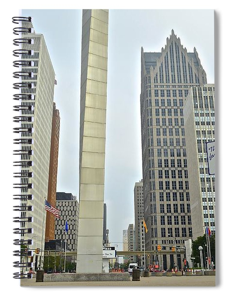 Detroit Spiral Notebook featuring the photograph Hart Plaza Detroit by Frozen in Time Fine Art Photography