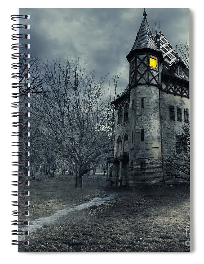 House Spiral Notebook featuring the photograph Haunted House by Jelena Jovanovic
