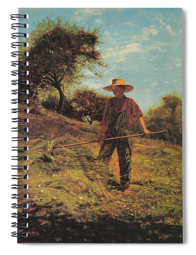 Winslow Homer Spiral Notebook featuring the digital art Haymaking by Winslow Homer