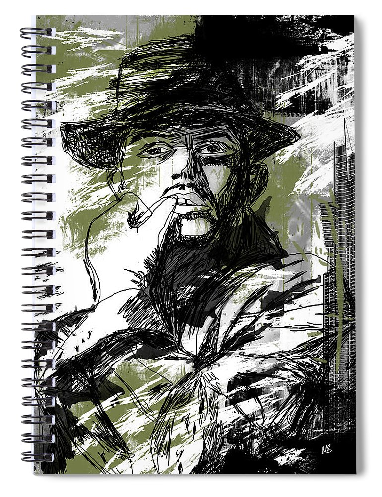 Abstract Spiral Notebook featuring the drawing He Calls It Home - Green by Melissa Smith