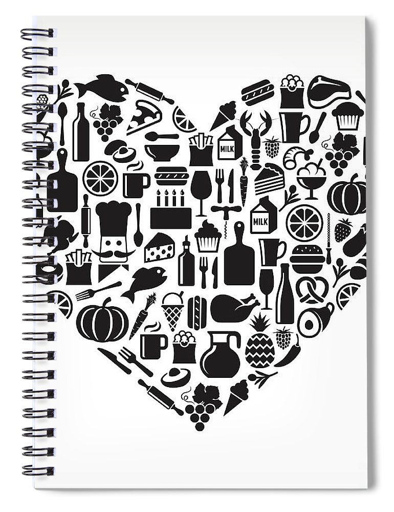 Chicken Meat Spiral Notebook featuring the digital art Heart Food & Drink Royalty Free Vector by Bubaone