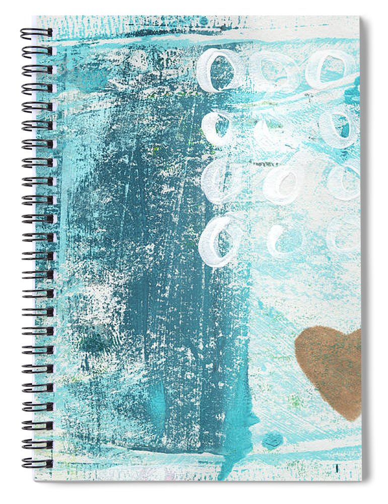 Abstract Art Spiral Notebook featuring the painting Heart In The Sand- Abstract Art by Linda Woods