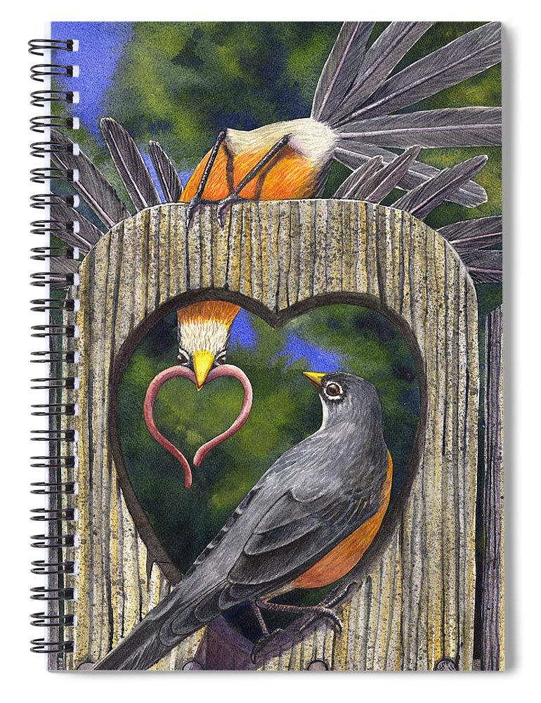 Robin Spiral Notebook featuring the painting Heartfelt by Catherine G McElroy