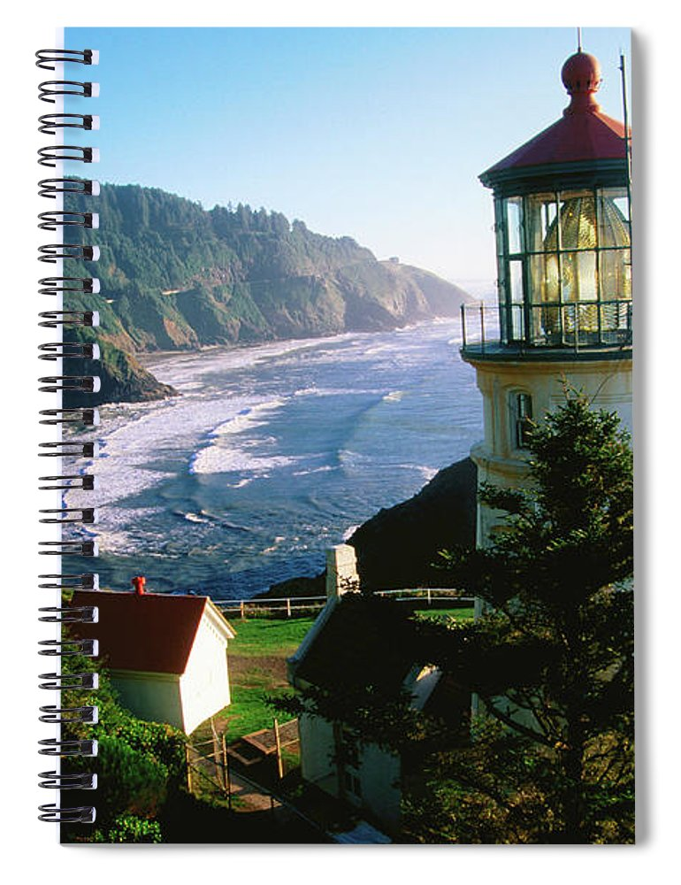 Shadow Spiral Notebook featuring the photograph Heceta Head Lighthouse by John Elk