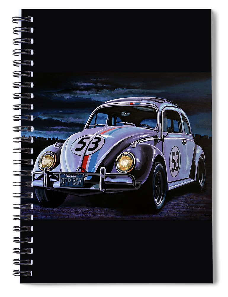 Herbie Spiral Notebook featuring the painting Herbie The Love Bug Painting by Paul Meijering