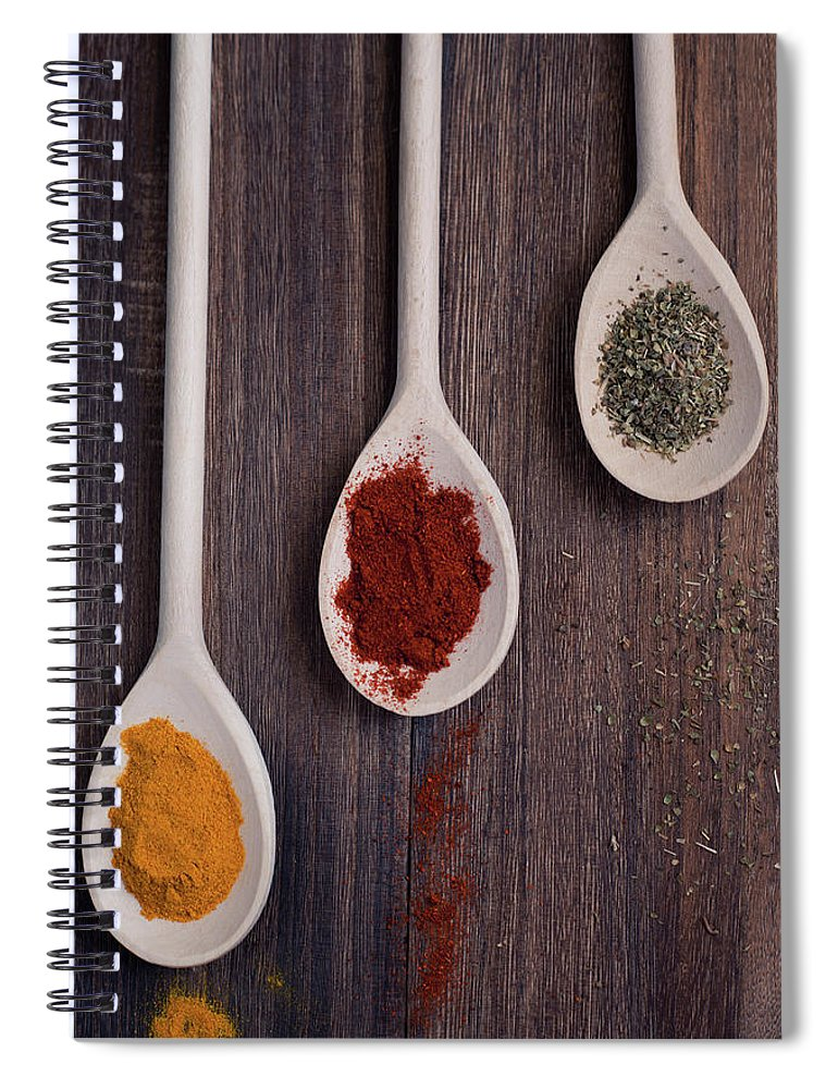 In A Row Spiral Notebook featuring the photograph Herbs And Spices by Photo By Asri' Rie