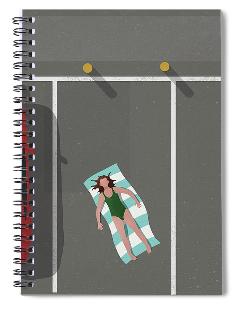 Shadow Spiral Notebook featuring the digital art High Angle View Of Woman Sunbathing By by Malte Mueller