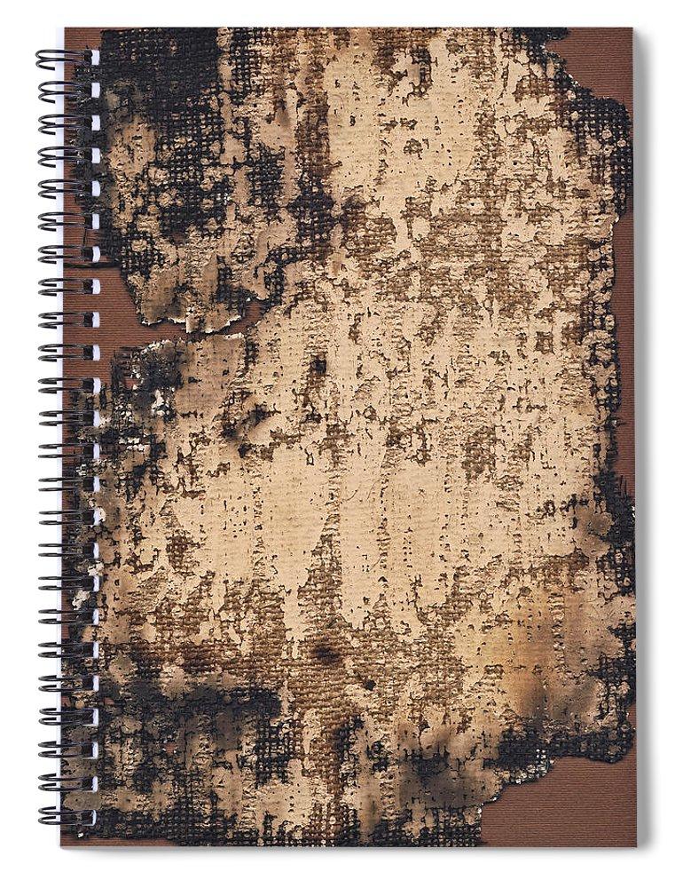 Burnt Spiral Notebook featuring the photograph High Resolution Burnt Primed Burlap by Miroslav Boskov