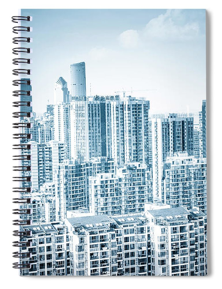 Residential District Spiral Notebook featuring the photograph High Rise Residential Area by Aaaaimages
