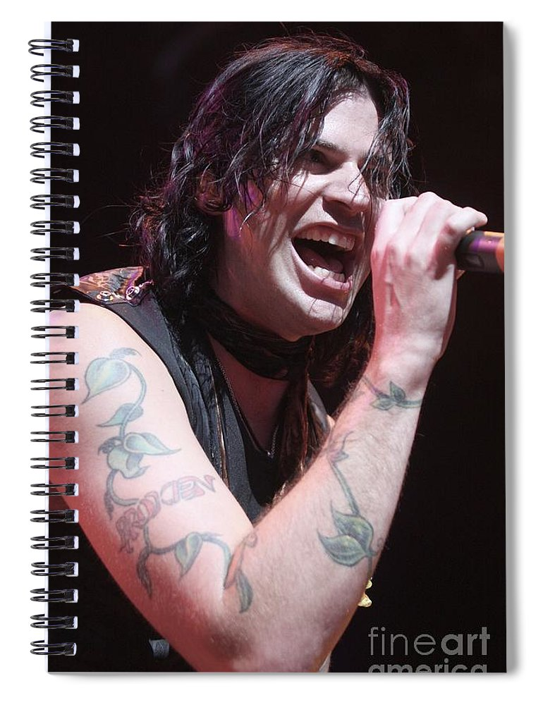 Singer Spiral Notebook featuring the photograph Hinder by Concert Photos