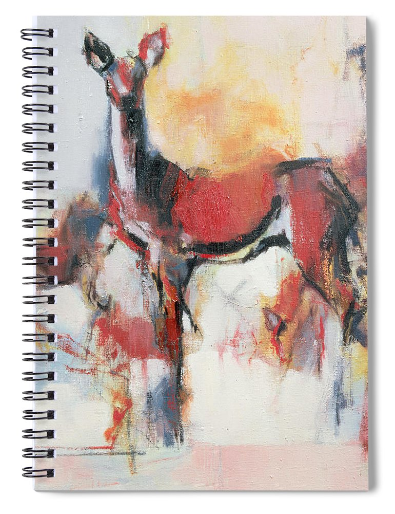 Female Deer Spiral Notebook featuring the painting Hinds In Winter by Mark Adlington