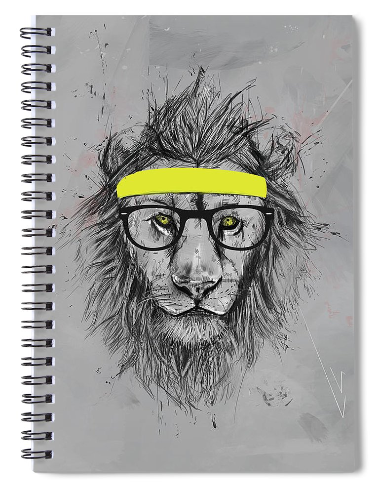 Lion Spiral Notebook featuring the drawing Hipster lion by Balazs Solti