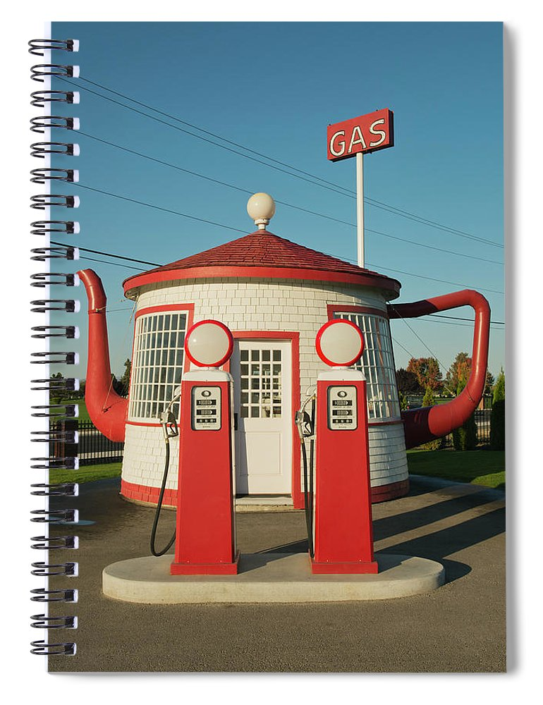 Outdoors Spiral Notebook featuring the photograph Historic Teapot Gas Station by Kevin Schafer