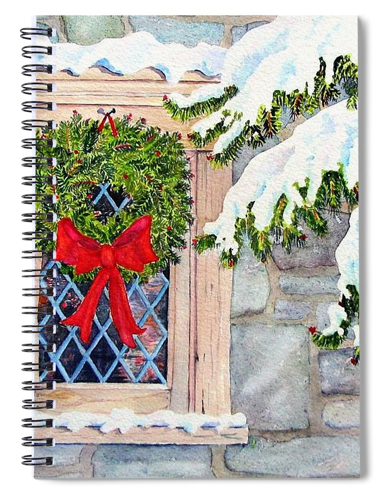 Card Spiral Notebook featuring the painting Home for the Holidays by Mary Ellen Mueller Legault