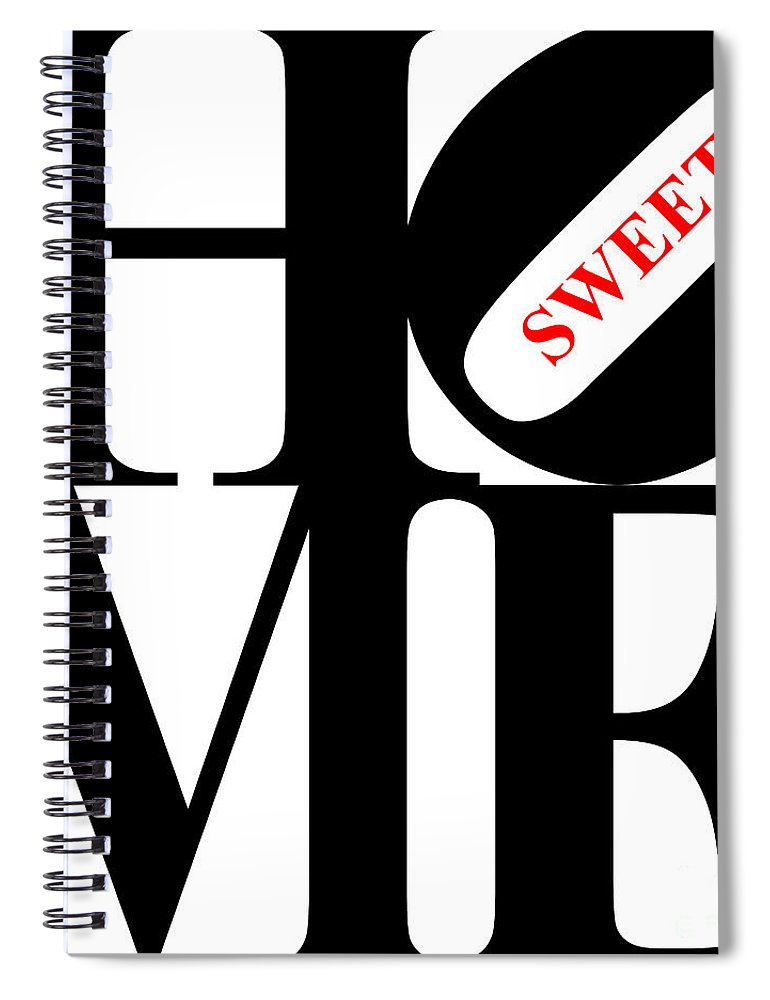 Home Spiral Notebook featuring the digital art Home Sweet Home 20130713 Black White Red by Wingsdomain Art and Photography