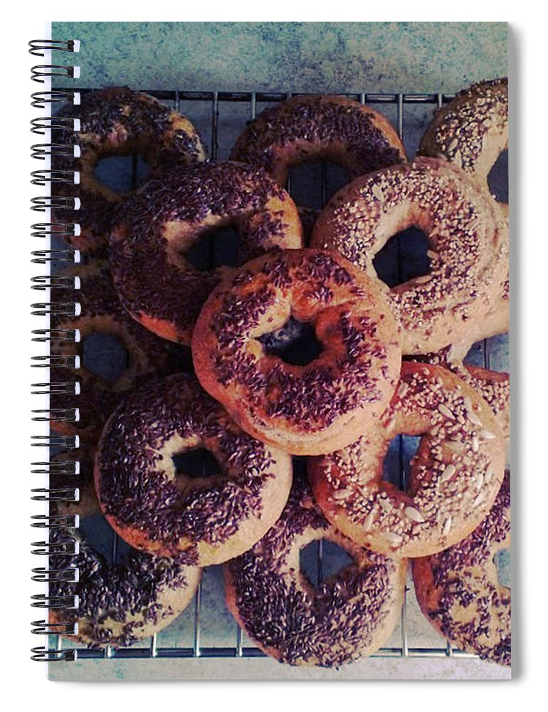 Flax Seed Spiral Notebook featuring the photograph Homemade Bagels by Lasse Kristensen
