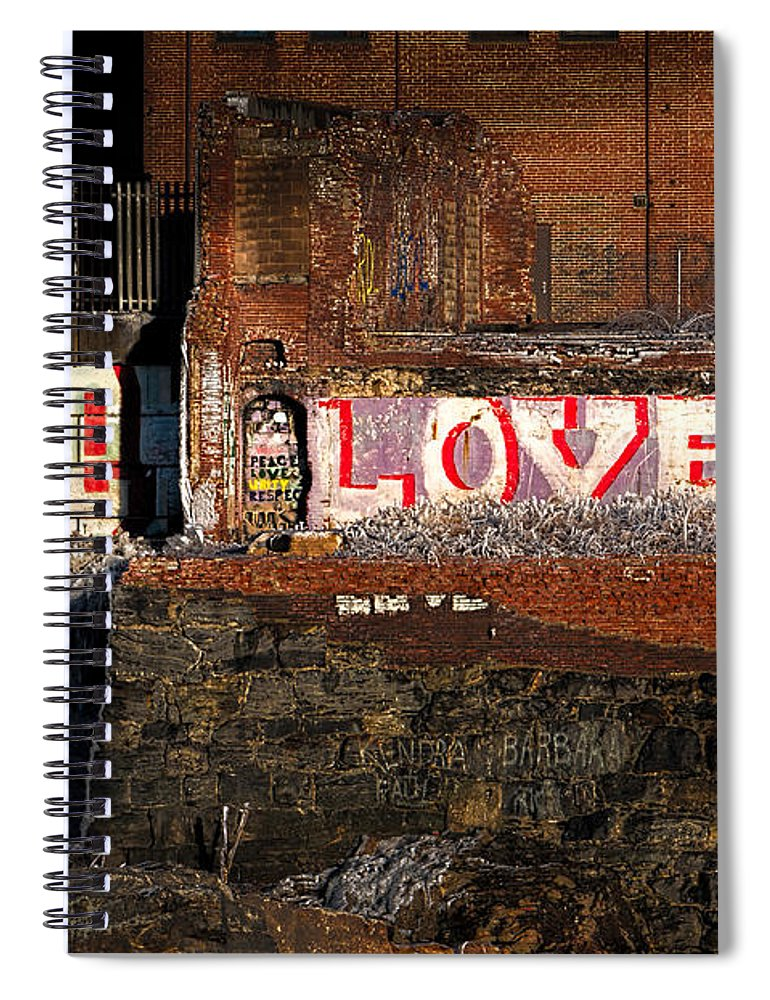 Urban Spiral Notebook featuring the photograph Hope Love Lovelife by Bob Orsillo