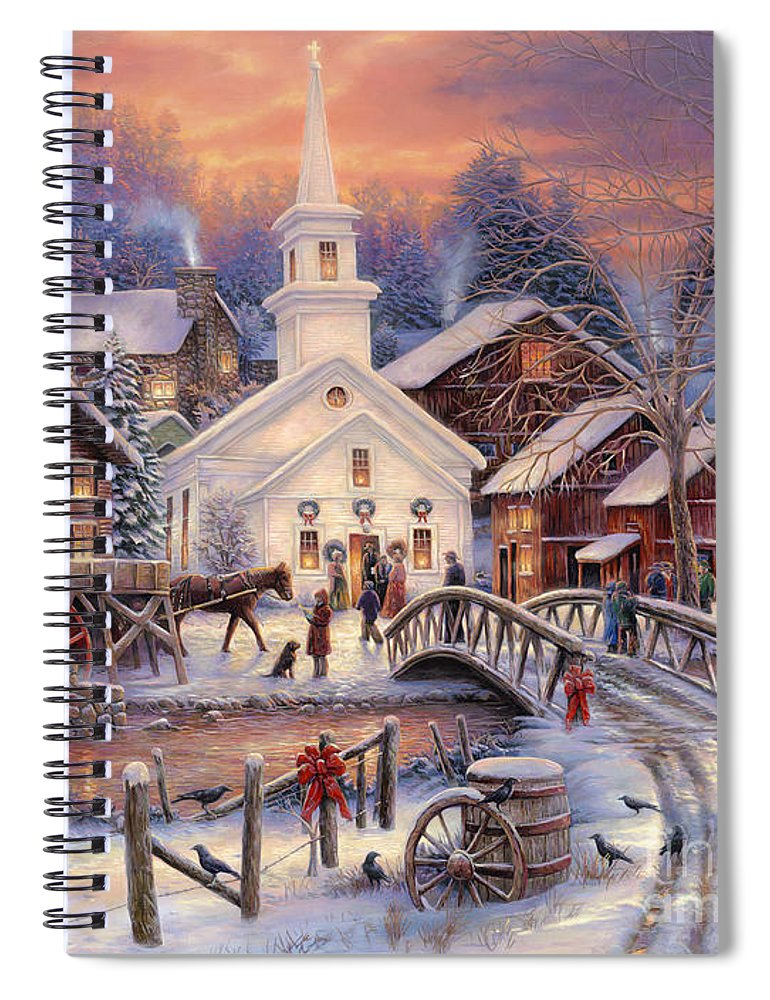 Snow Village Spiral Notebook featuring the painting Hope Runs Deep by Chuck Pinson