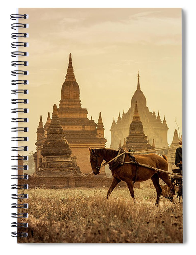 Horse Spiral Notebook featuring the photograph Horse And Carriage Turning By Temples by Merten Snijders