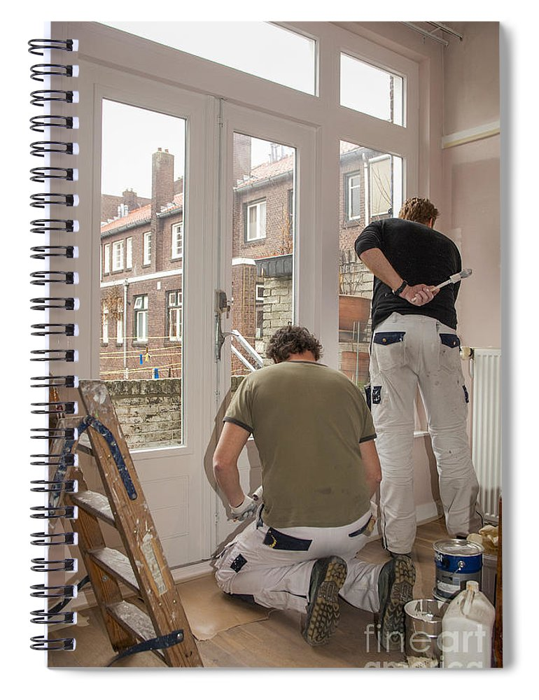 Brush Spiral Notebook featuring the photograph House Painters At Work by Patricia Hofmeester