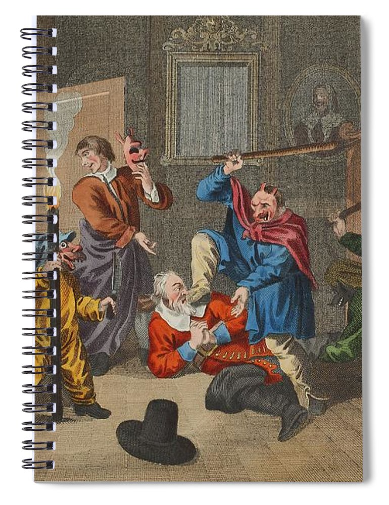 Poem Spiral Notebook featuring the drawing Hudibras Catechizd, From Hudibras by William Hogarth