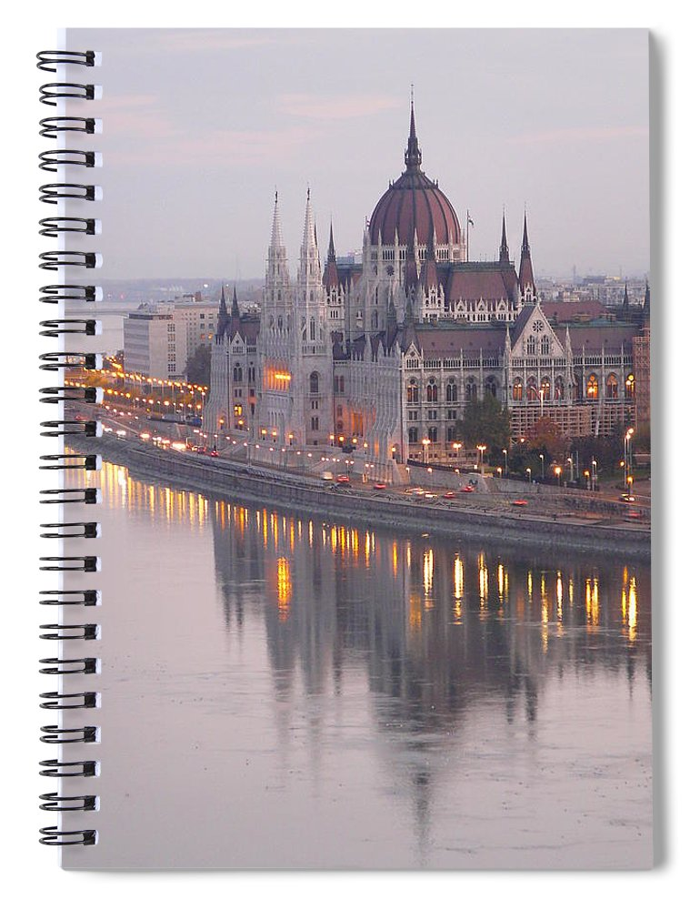 Outdoors Spiral Notebook featuring the photograph Hungarian Parliament At Sunrise by Ilona Nagy