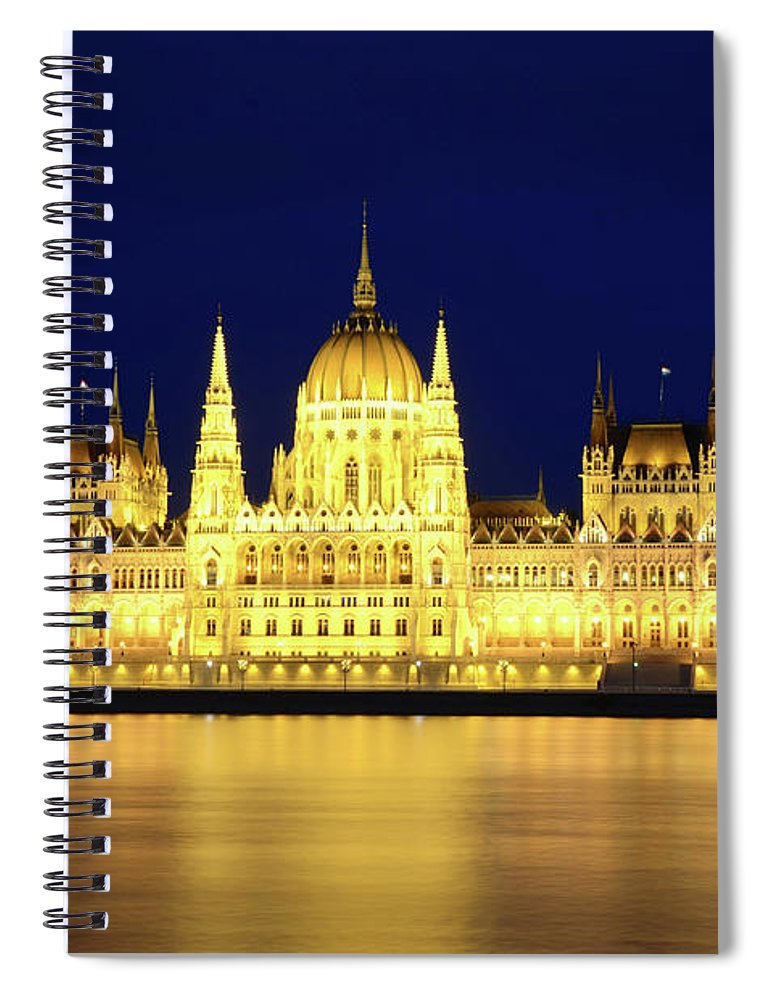 Hungarian Parliament Building Spiral Notebook featuring the photograph Hungarian Parliament Building, Budapest by Dragos Cosmin Photos