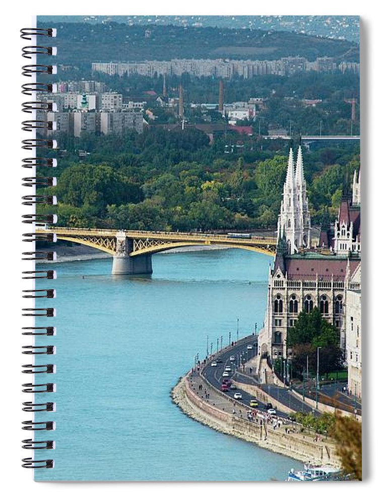 Arch Spiral Notebook featuring the photograph Hungarian Parliament Building by Paul Biris