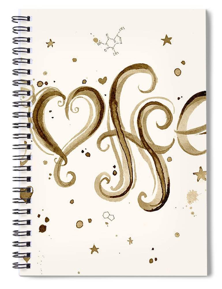 Watercolor Spiral Notebook featuring the painting I Love Coffee by Olga Shvartsur