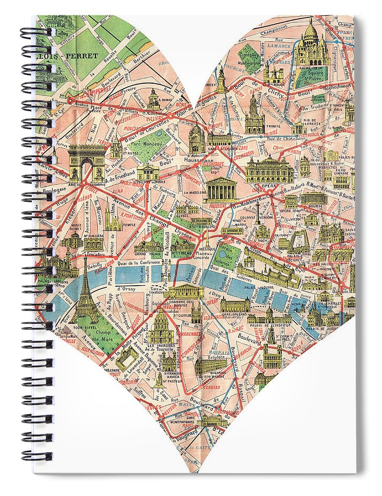 Paris Georgia Map.I Love Paris Heart Map Spiral Notebook For Sale By Georgia Fowler