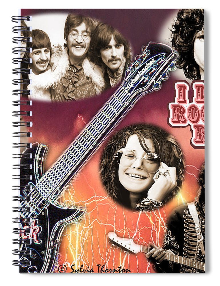 Jimi Hendrix Spiral Notebook featuring the photograph I Love Rock'N Roll by Sylvia Thornton