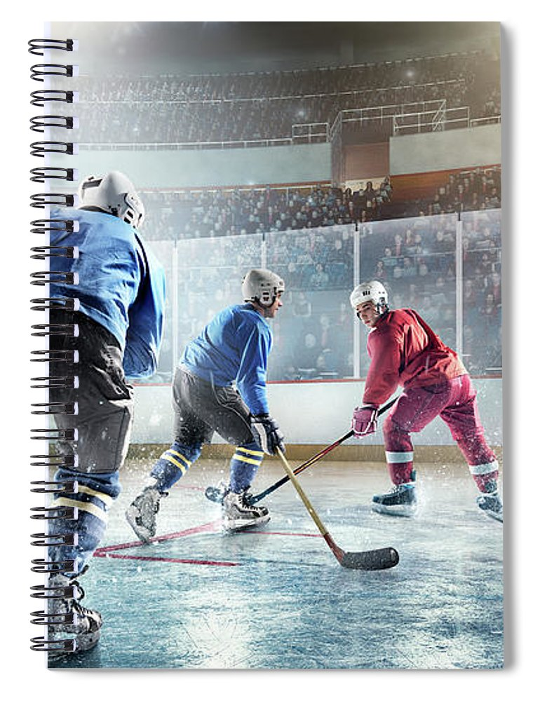 Sports Helmet Spiral Notebook featuring the photograph Ice Hockey Players In Action by Dmytro Aksonov