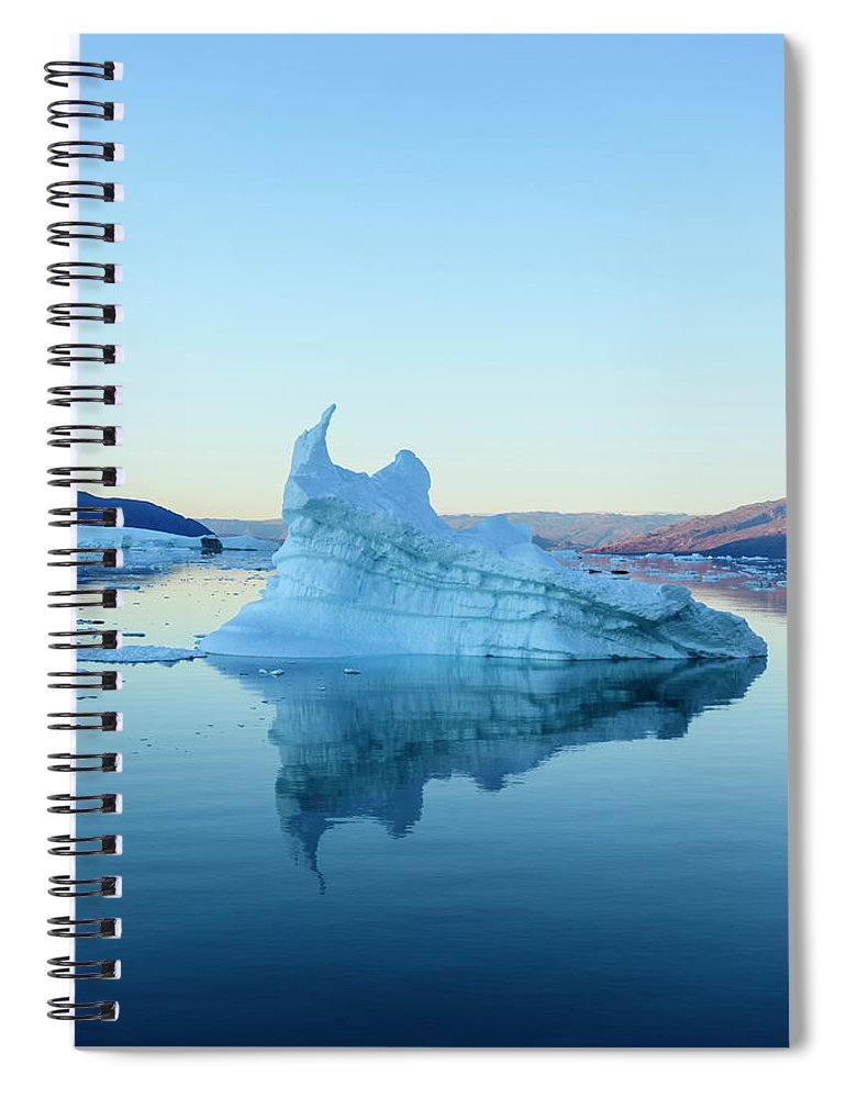 Scenics Spiral Notebook featuring the photograph Iceberg In The Scoresby Sund by Berthold Trenkel