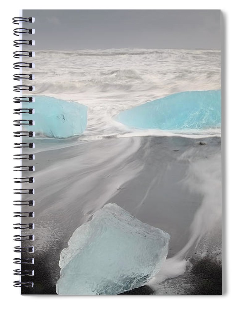 Scenics Spiral Notebook featuring the photograph Icebergs Washed Up On Volcanic Sandy by Travelpix Ltd
