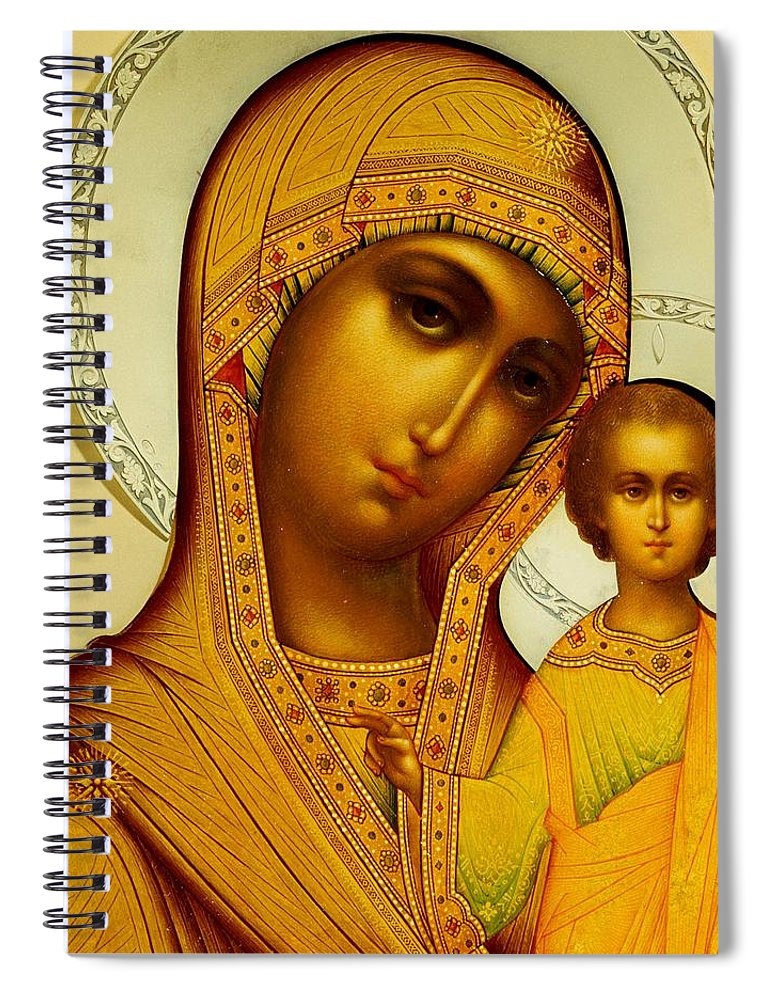 Virgin Mary; Madonna; Infant Christ; Jesus Christ; Ornate; Russian Orthodox Spiral Notebook featuring the painting Icon Of The Virgin Kazanskaya by Dmitrii Smirnov
