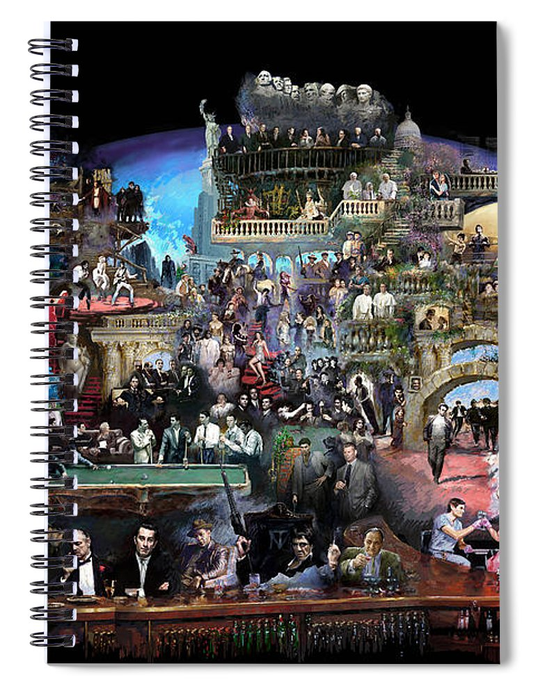 Icones Of History And Entertainment Spiral Notebook featuring the mixed media Icons Of History And Entertainment by Ylli Haruni