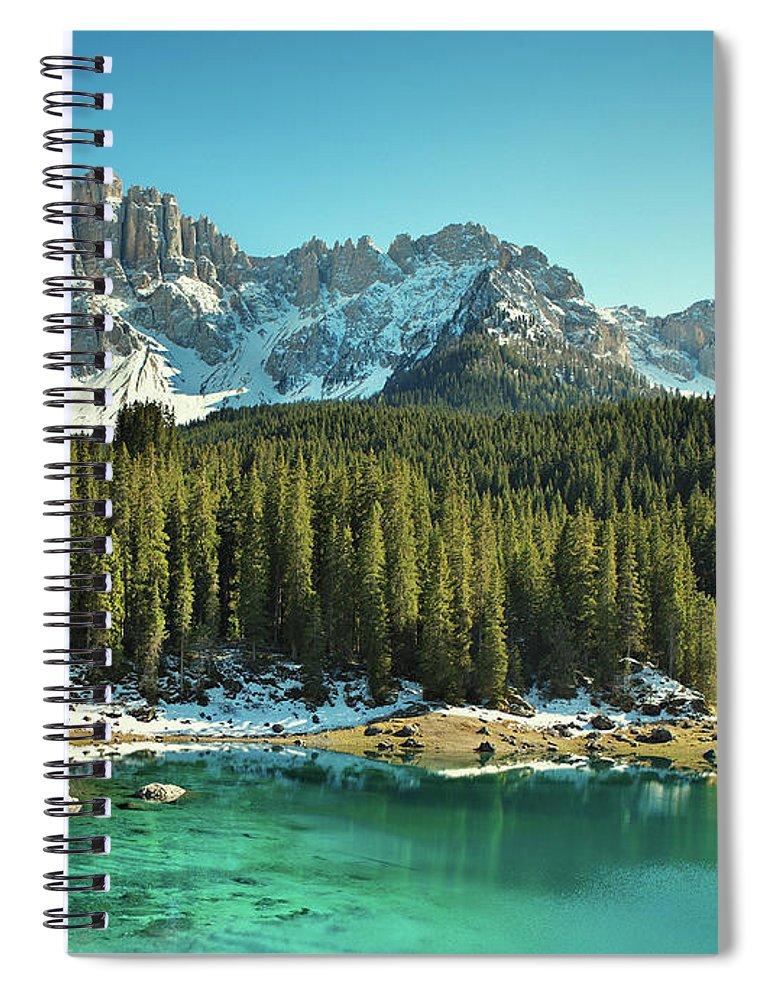Lake Carezza Spiral Notebook featuring the photograph Idyllic Mountain Lake by Mammuth