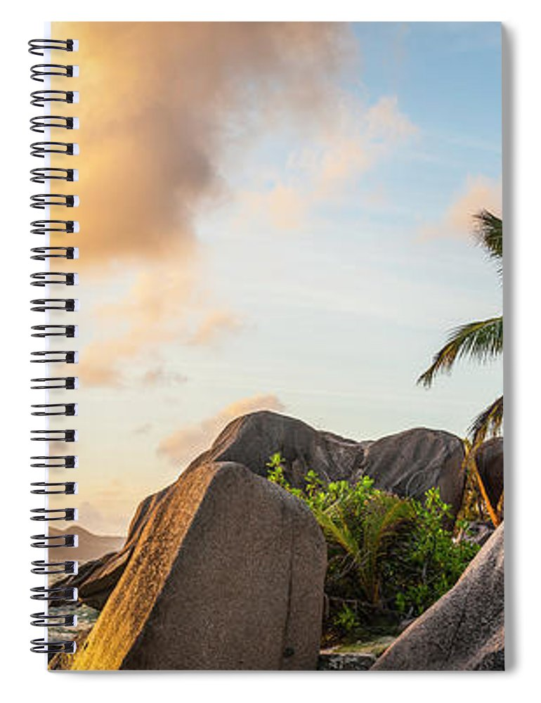 Tropical Rainforest Spiral Notebook featuring the photograph Idyllic Tropical Island Sunset Over by Fotovoyager