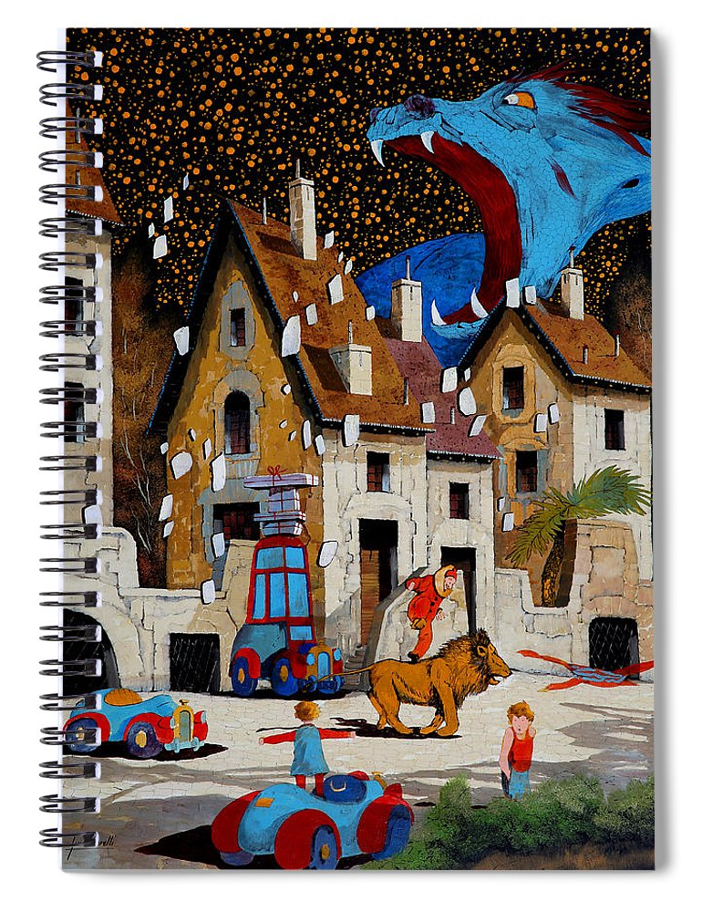Drake Spiral Notebook featuring the painting Il Drago by Guido Borelli