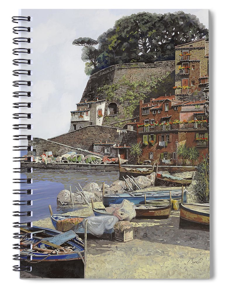 Italy Spiral Notebook featuring the painting il porto di Sorrento by Guido Borelli
