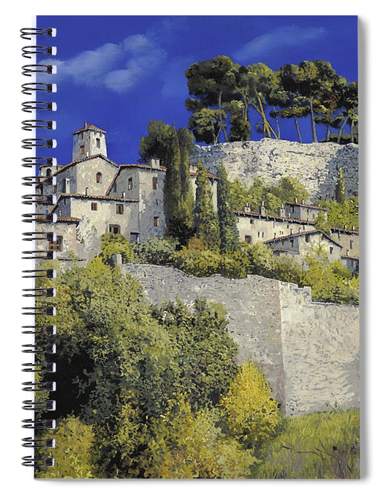 Blue Village Spiral Notebook featuring the painting Il Villaggio In Blu by Guido Borelli