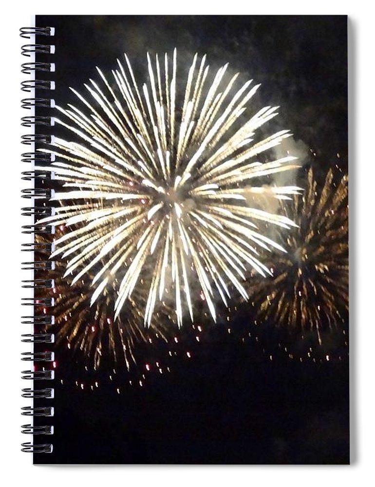 Event Spiral Notebook featuring the photograph Illuminated Firework Display Against by Daniel Schild / Eyeem