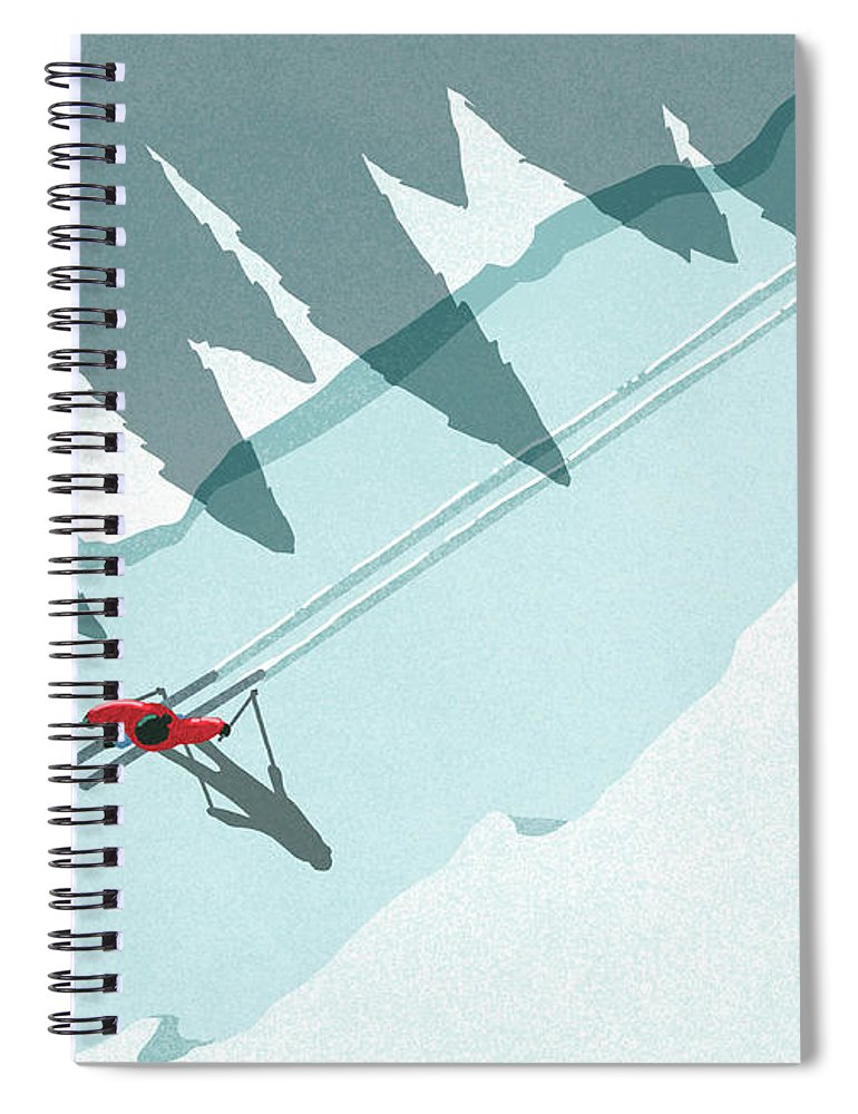 Ski Pole Spiral Notebook featuring the digital art Illustration Of Man Skiing During by Malte Mueller